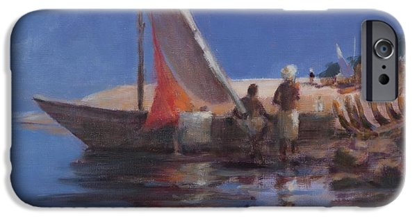 Kenya Photographs iPhone Cases - Boat Yard, Kilifi, 2012 Acrylic On Canvas iPhone Case by Lincoln Seligman