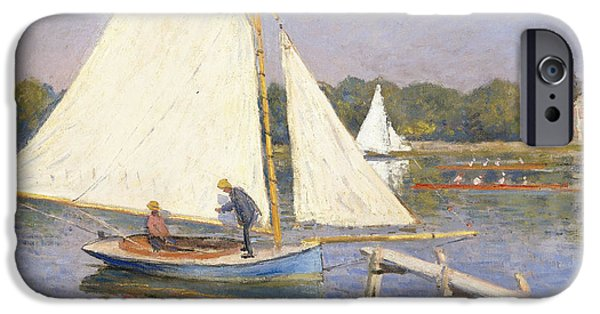 Sailing Yacht iPhone Cases - Boaters at Argenteuil iPhone Case by Claude Monet