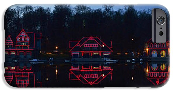 Schuylkill iPhone Cases - Boathouse At The Waterfront, Schuylkill iPhone Case by Panoramic Images