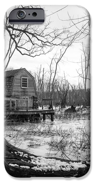 Concord. Winter iPhone Cases - Boathouse in Winter iPhone Case by Allan Morrison