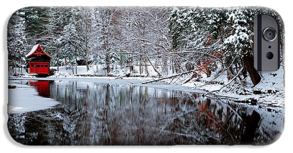 Snow Scene iPhone Cases - Boathouse in Winter on Beaver Brook iPhone Case by David Patterson