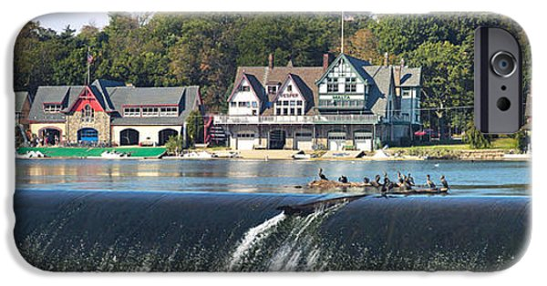 Boathouses iPhone Cases - Boathouse Row At The Waterfront iPhone Case by Panoramic Images