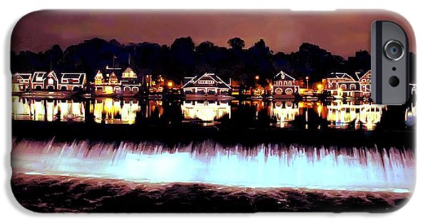 Boathouses iPhone Cases - Boathouse Row in the Night iPhone Case by Bill Cannon
