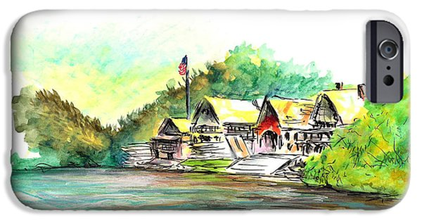 Phillies Paintings iPhone Cases - Boathouse Row iPhone Case by Joseph Levine