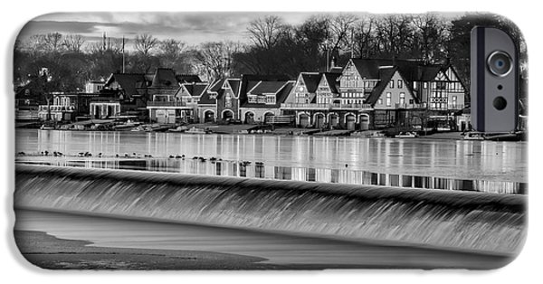 Wintertime iPhone Cases - Boathouse Row Philadelphia PA BW iPhone Case by Susan Candelario