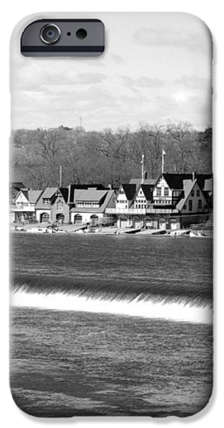 Boathouse Row winter b/w iPhone Case by Jennifer Lyon