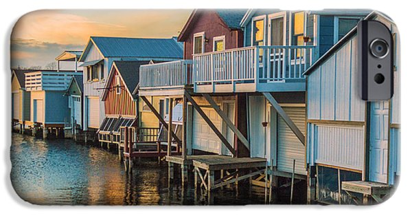 Canandaigua Lake iPhone Cases - Boathouses in the Golden Hour iPhone Case by Lou Cardinale