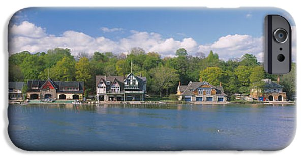 Schuylkill iPhone Cases - Boathouses Near The River, Schuylkill iPhone Case by Panoramic Images