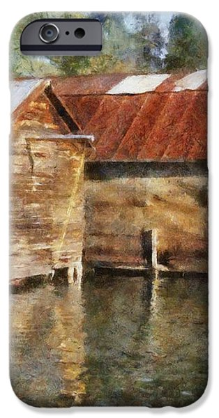 Boathouses on the Torch River ll iPhone Case by Michelle Calkins