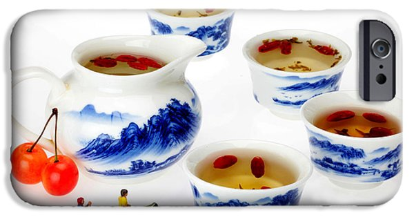 Blue And White Porcelain iPhone Cases - Boating among china tea cups little people on food iPhone Case by Paul Ge