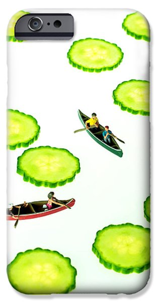 Toy Boat iPhone Cases - Boating among cucumber slices miniature art iPhone Case by Paul Ge