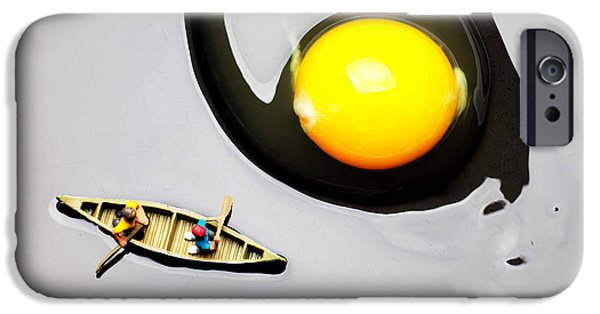 Toy Boat Digital Art iPhone Cases - Boating around egg little people on food iPhone Case by Paul Ge