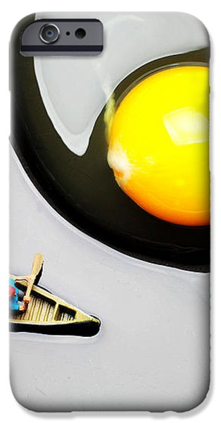 Boating around egg little people on food iPhone Case by Paul Ge