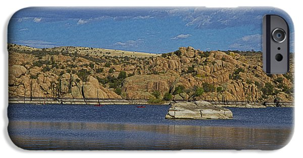 Watson Lake iPhone Cases - Boating at the Dells iPhone Case by Tom Kelly