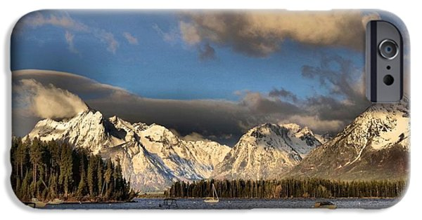 Boats In Water iPhone Cases - Boating In The Tetons iPhone Case by Dan Sproul