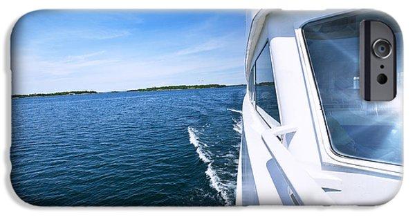 Boat Cruise iPhone Cases - Boating on lake iPhone Case by Elena Elisseeva