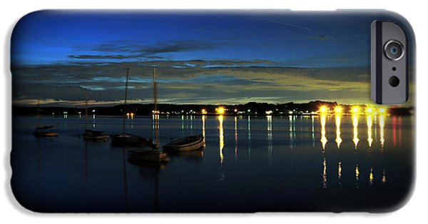 Midnight Blue iPhone Cases - Boating - The Marina at Night iPhone Case by Paul Ward