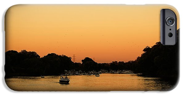 Pleasure iPhone Cases - Boats and Birds at Sunset iPhone Case by Cheryl Young
