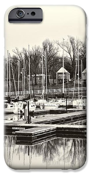Boats and Cottages in b/w iPhone Case by Greg Jackson