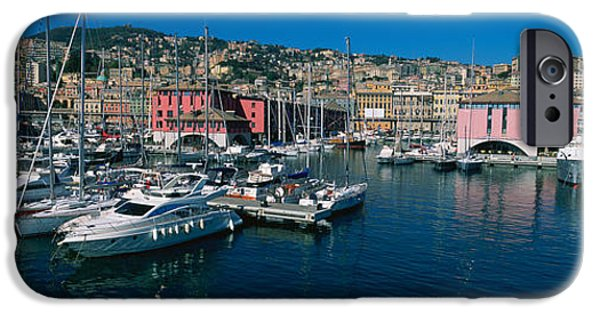 Genoa iPhone Cases - Boats At A Harbor, Porto Antico, Genoa iPhone Case by Panoramic Images