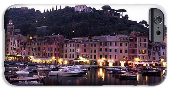 Genoa iPhone Cases - Boats At A Harbor, Portofino, Genoa iPhone Case by Panoramic Images