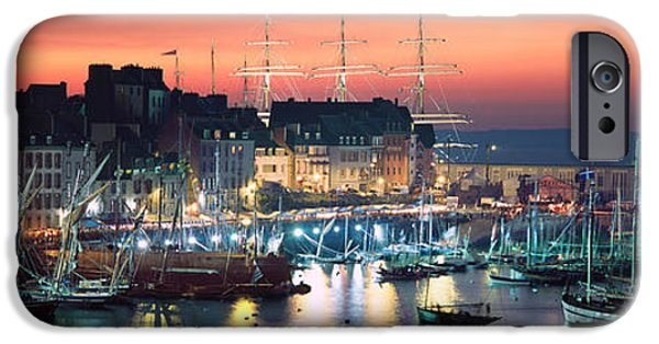 Sailboat Ocean iPhone Cases - Boats At A Harbor, Rosmeur Harbour iPhone Case by Panoramic Images