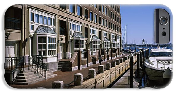 Boston iPhone Cases - Boats At A Harbor, Rowes Wharf, Boston iPhone Case by Panoramic Images