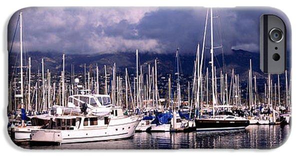 Santa Barbara iPhone Cases - Boats At A Harbor, Santa Barbara iPhone Case by Panoramic Images