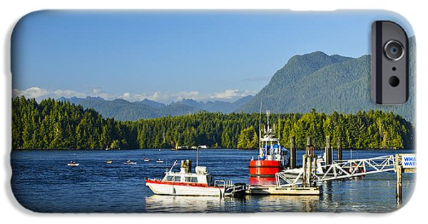 Bc Coast iPhone Cases - Boats at dock in Tofino iPhone Case by Elena Elisseeva