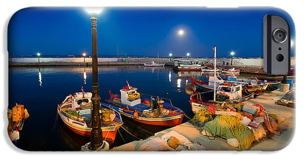 Mesta iPhone Cases - Boats at Night  iPhone Case by Emmanuel Panagiotakis