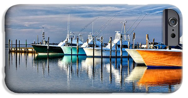 Pamlico Sound iPhone Cases - Boats at Oregon Inlet Outer Banks I iPhone Case by Dan Carmichael
