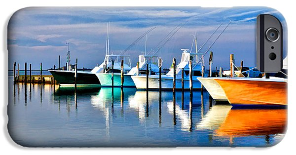 Pamlico Sound iPhone Cases - Boats at Oregon Inlet Outer Banks II iPhone Case by Dan Carmichael