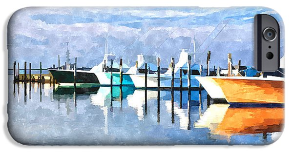 Abstract Seascape Mixed Media iPhone Cases - Boats at Oregon Inlet Outer Banks III iPhone Case by Dan Carmichael