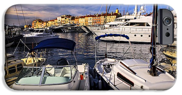 Village iPhone Cases - Boats at St.Tropez iPhone Case by Elena Elisseeva