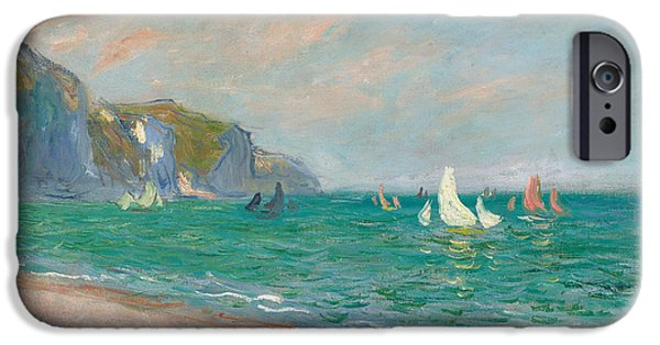 Sailing Yacht iPhone Cases - Boats Below the Pourville Cliffs iPhone Case by Claude Monet