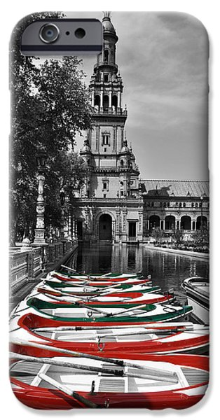 Row Boat Digital iPhone Cases - Boats by the Plaza de Espana Seville iPhone Case by Mary Machare