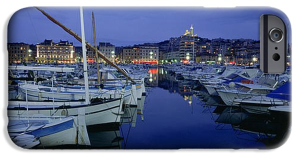 Reflection In Water iPhone Cases - Boats Docked At A Port, Old Port iPhone Case by Panoramic Images