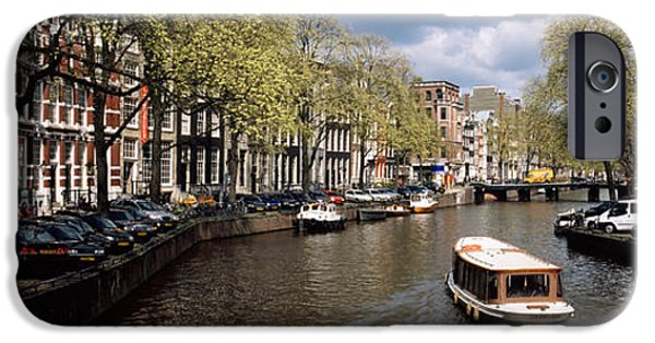 Land Vehicle iPhone Cases - Boats In A Canal, Amsterdam, Netherlands iPhone Case by Panoramic Images
