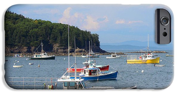 Recently Sold -  - Red Rock iPhone Cases - Boats in Bar Harbor iPhone Case by Jemmy Archer