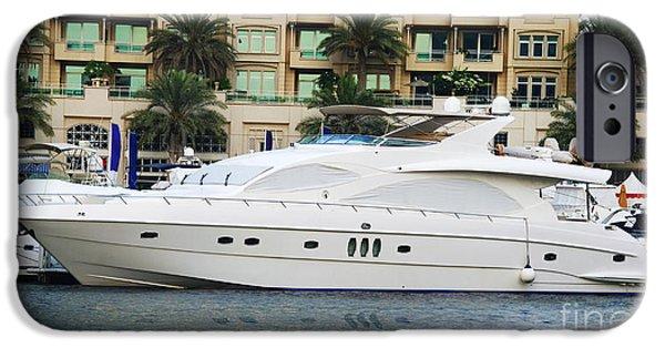 Sports Pyrography iPhone Cases - Boats in Dubai Marina iPhone Case by Jelena Jovanovic