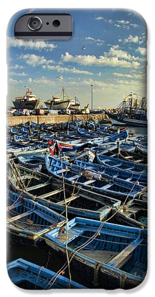 Northern Africa iPhone Cases - Boats in Essaouira Morocco harbor iPhone Case by David Smith