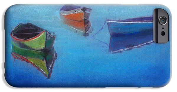 Small Pastels iPhone Cases - Boats In Fog iPhone Case by Michael  Weber