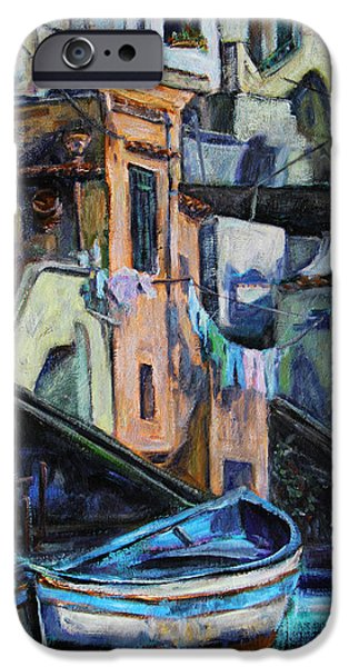 Balcony iPhone Cases - Boats in front of the Buildings I  iPhone Case by Xueling Zou