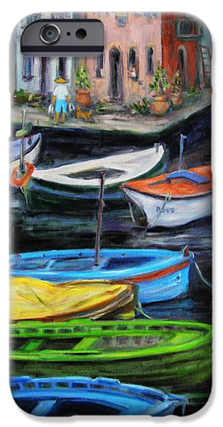 Sailboat iPhone Cases - Boats in front of the Buildings II iPhone Case by Xueling Zou