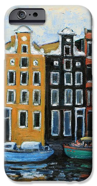 Boats In Front of the Buildings VI iPhone Case by Xueling Zou