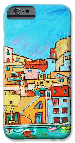 Boats In Front of the Buildings VII iPhone Case by Xueling Zou