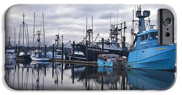 Newport Photographs iPhone Cases - Boats in Harbor Newport Oregon iPhone Case by Carol Leigh