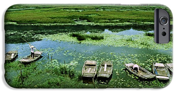 Ga iPhone Cases - Boats In Hoang Long River, Kenh Ga iPhone Case by Panoramic Images