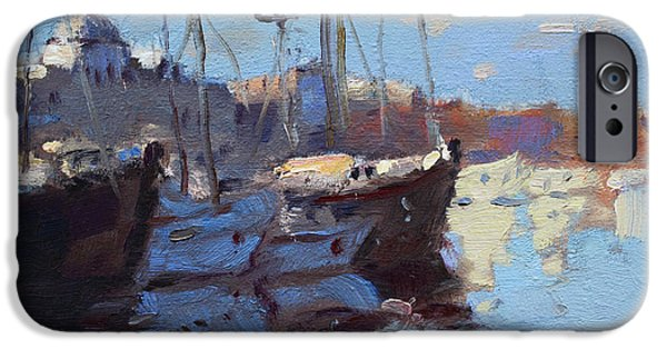 Rhodes iPhone Cases - Boats in Mandraki Rhodes Greece  iPhone Case by Ylli Haruni