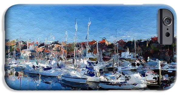 Boat Mixed Media iPhone Cases - Boats in the harbor iPhone Case by Stefan Kuhn